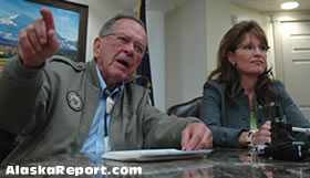 Alaska Senator Ted Stevens was joined by governor Sarah Palin Wednesday at a press conference laying out Stevens' proposals for relief from high energy prices, but reporters wanted to know about the perceived friction between the two.