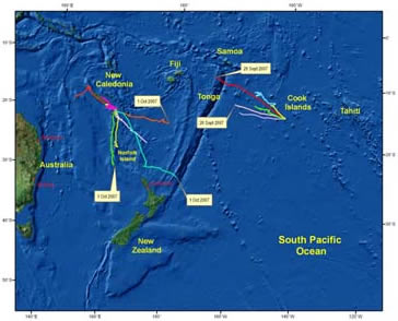 An international group of scientists is learning new things about the migration routes and daily habits of South Pacific humpback whales from satellite tags the group recently placed in the thick blubber of 20 whales.